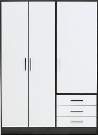 Forte Jupiter Kleiderschrank 3 Turig 3 Schubkasten Holz Schwarz Weiss 144 6 X 60 X 200 Cm Amazon De Kuche Haushalt