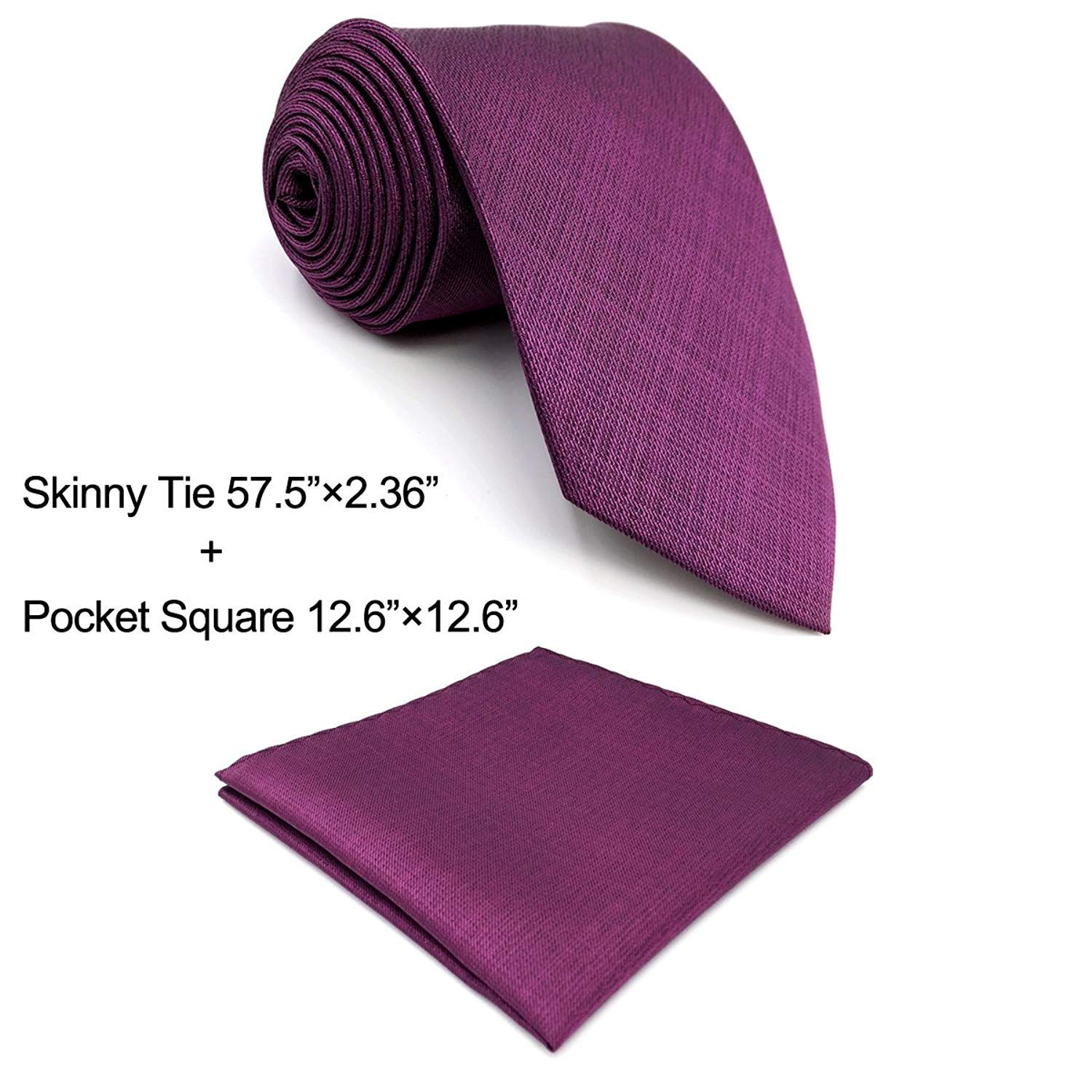 Shlax&Wing Solid Color Purple Purplish Red Necktie Ties For Men Silk Skinny Long Wedding