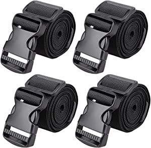 """MAGARROW 65"""" × 1.5"""" Utility Straps with Buckle Adjustable, 4-Pack (Black (4-PCS))"""