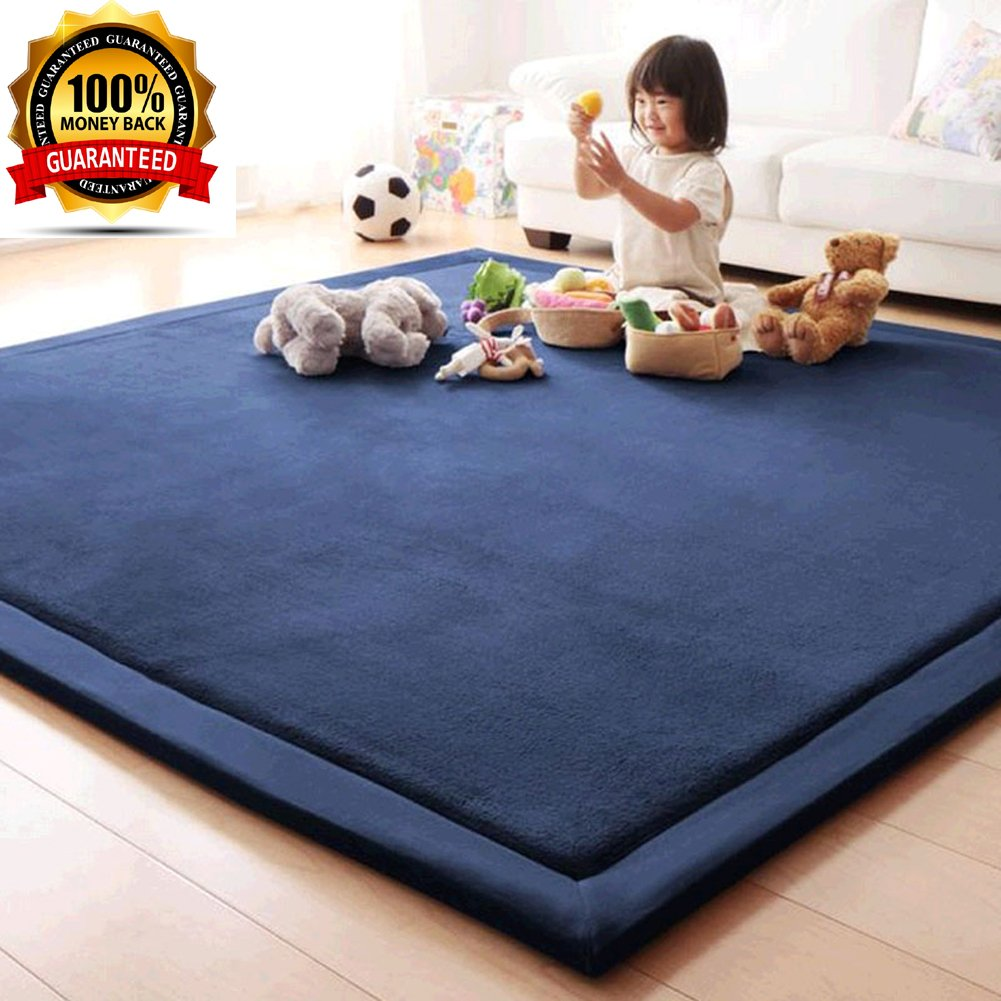 Boys Girls Playing Mat, Janpanese Tatami Mat, Kids/Children/Babies Crawling Mat, Super Soft Coral Velvet Area Rug Carpet for Living Room/Bedroom/Dining Room, Navy Blue, Thickness:2cm, 31.5 by 79 Inch MAXYOYO