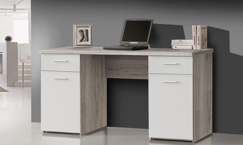 Mesa de escritorio de roble de arena/de colour blanco: Amazon.es ...