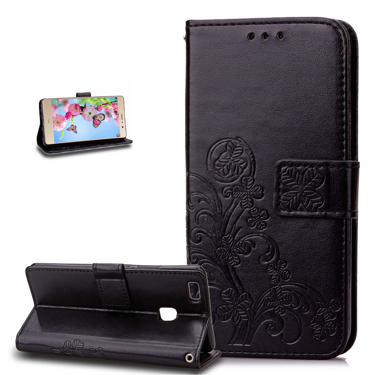 Huawei P9 Lite Case,Wallet Case for Huawei P9 Lite,ikasus Embossing Clover Flower PU Leather Fold Wallet Pouch PU Leather Wallet Flip Stand Credit Card Holders Case Cover for Huawei P9 Lite,Purple