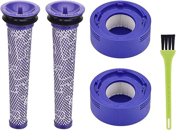 Jajadeal - Filtro de repuesto para aspiradora Dyson V8 V7, Pre-Filtro y HEPA Post-Filter con cepillo de limpieza: Amazon.es: Hogar