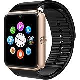Bluetooth Smart Uhr Gold, GT08 Intelligente Armbanduhr Fitness Tracker Armband Sport Uhr mit/Kamera/Schrittzähler/Schlaftracker/Romte Capture Kompatibel mit Android Smartphone