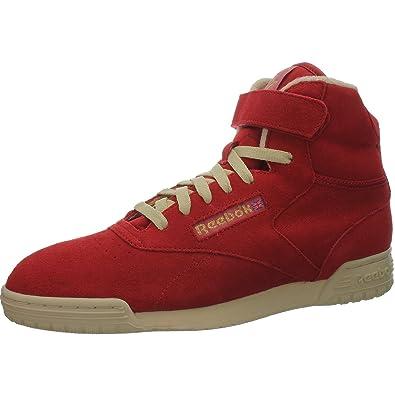Reebok Exofit Clean Hi Vintage Cuir sauvage rouge Chaussures De Sport Basket, Rouge - Rouge, 43