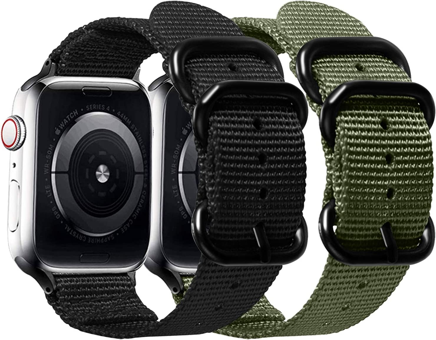 Misker Nylon Band Compatible with Apple Watch Band 44mm 42mm 40mm 38mm,Breathable Sport Strap with Metal Buckle Compatible with iwatch Series 5/4/3/2/1 (2-Packs Army Green/Black, 42mm/44mm)