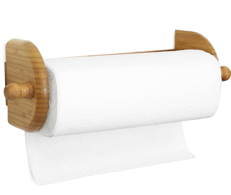 Wall Mount Paper Towel Holder Premium Bamboo Wood Stylish