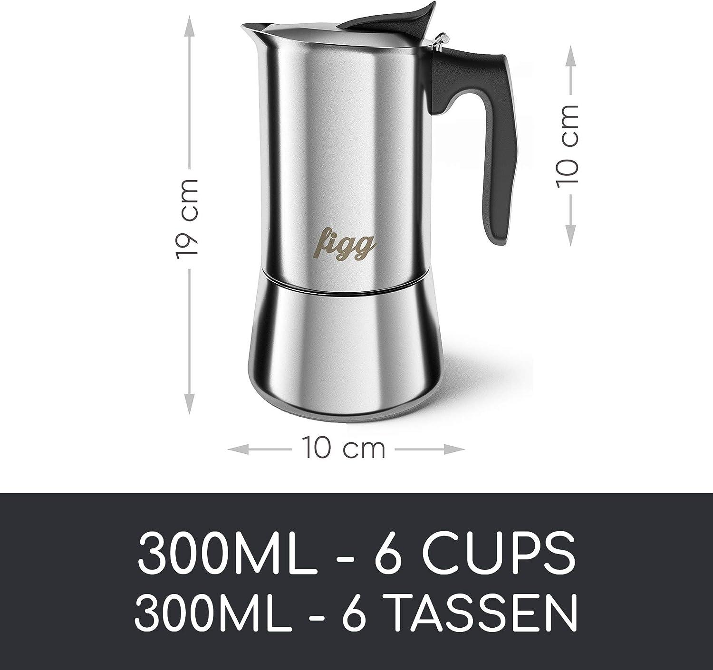 Cafetera italiana figg de acero inoxidable - 300 ml de café ...