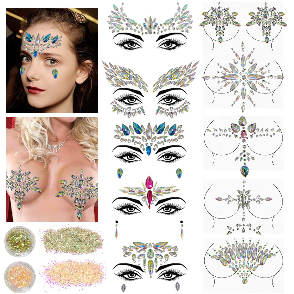 10 Sets Face Gems Glitter,Women Mermaid Bindi Temporary Stickers Rhinestone Rave Face Body Jewels festival 2 Pack Face Body Glitter