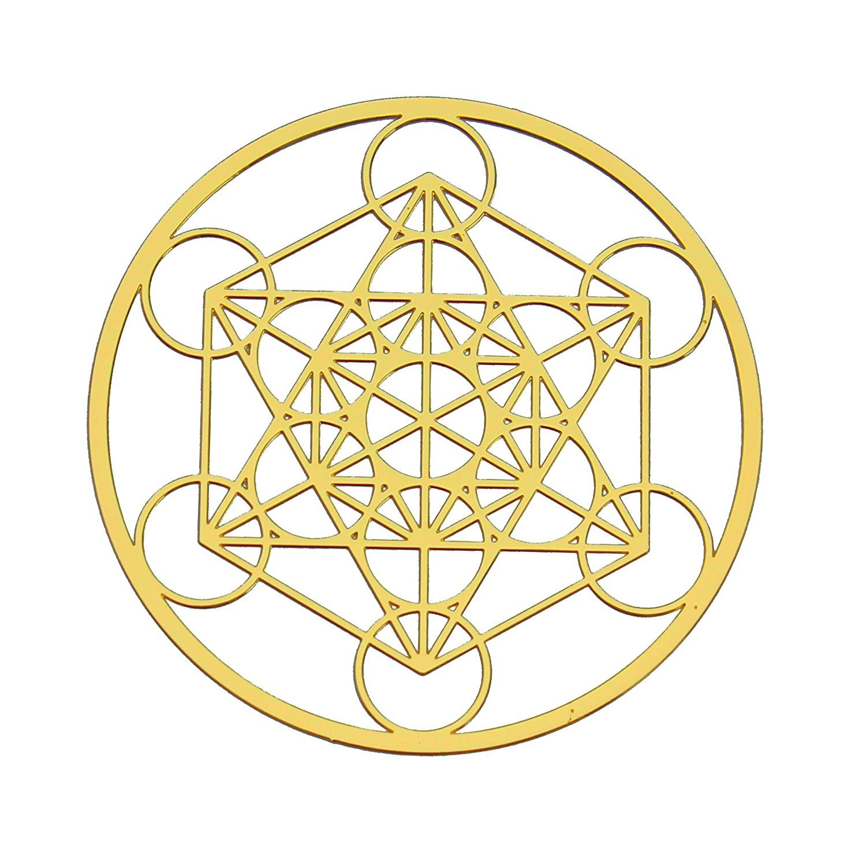 Metatron Cubo de 18K chapado en oro de curación Grid