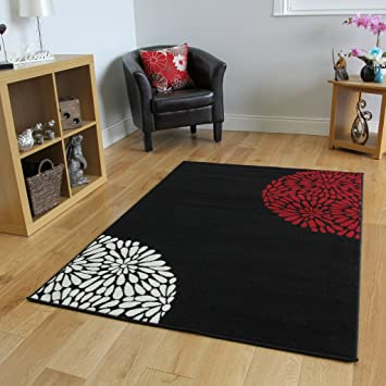 Tappeto moderno, colore: Nero/Rosso: Amazon.it: Casa e cucina