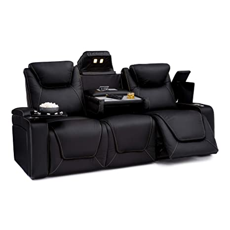 Seatcraft Vienna Home Theater Seating Leather Sofa Recline, Adjustable Headrest, Powered Lumbar Support, Fold-Down Table, and Cup Holders, Black