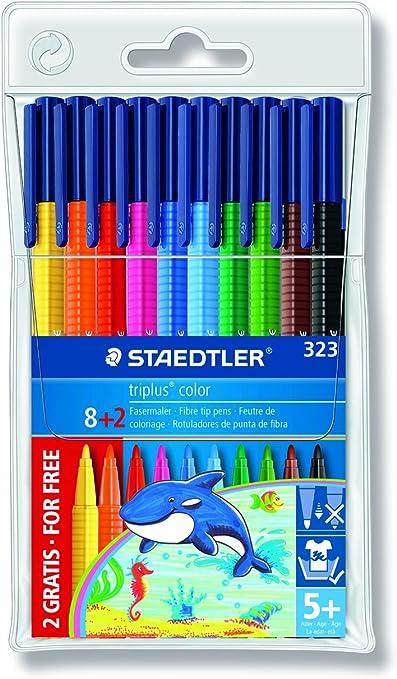 STAEDTLER triplus 325 - Estuche con 10 rotuladores triangulares de punta de fibra: Amazon.es: Oficina y papelería