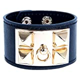 Amazon Price History for:Censtusllery Punk Alloy Rivet Leather Cuff Bracelet For Womens