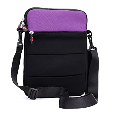 Sleeve Cover & Carry Bag w/Strap for Dell Latitude 14 7000 E7440 Ultrabook & Accessories|Black Purple|NuVur