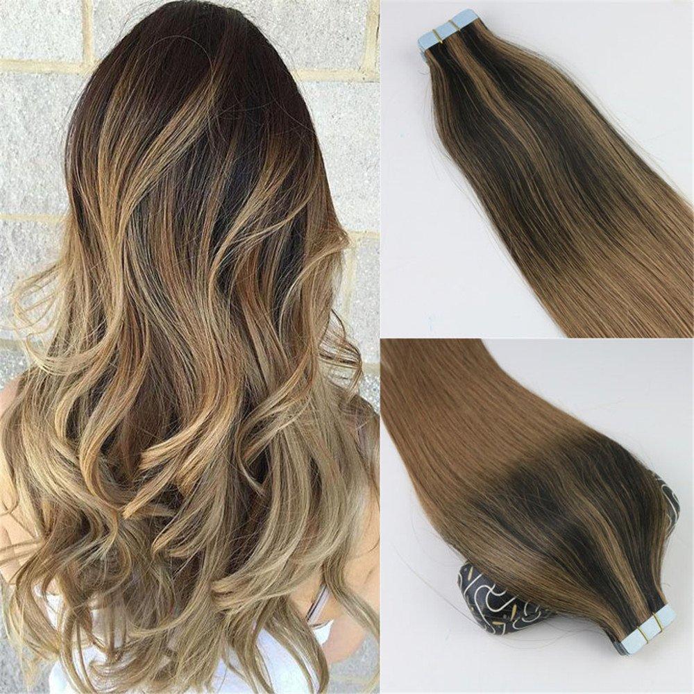 Globalwing Balayage, extension in veri capelli Remy, marrone scuro, accenti biondo dorato, extension con adesivo, 50g 50g