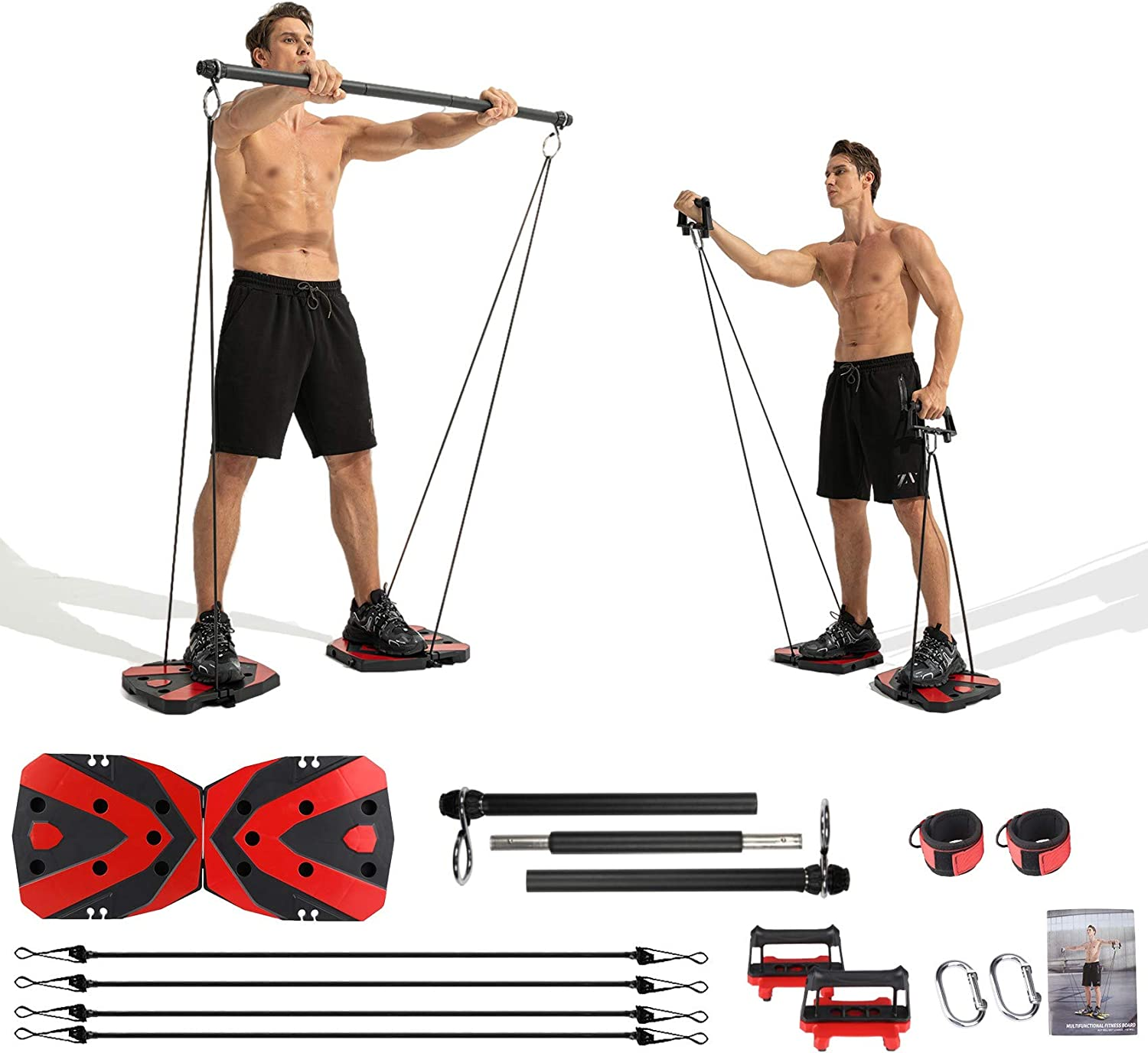 Portable Home Gym with Heavy Resistance Bands Ab Roller Wheel Pulleys and More Full-Body Workout Equipment for Home Gym Equipment Build Muscle and Burn Fat Men Women