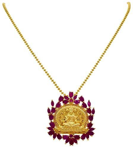 bf657e3bfaf Buy JFL - Traditional Ethnic Temple Goddess Laxmi One Gram Gold ...