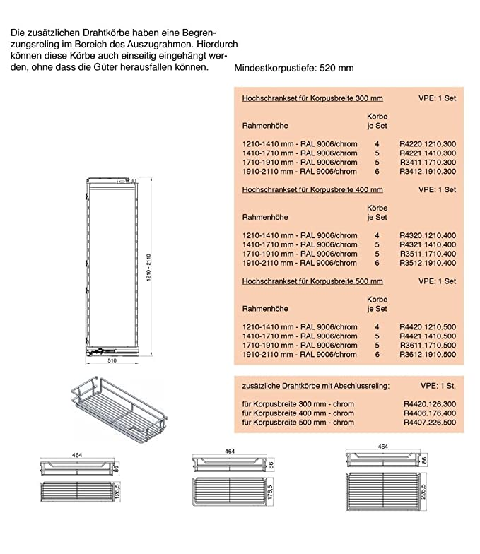 Tall Cabinet Drawer 1710 - 1910 for Body Guide and 120 kg 400 mm ...