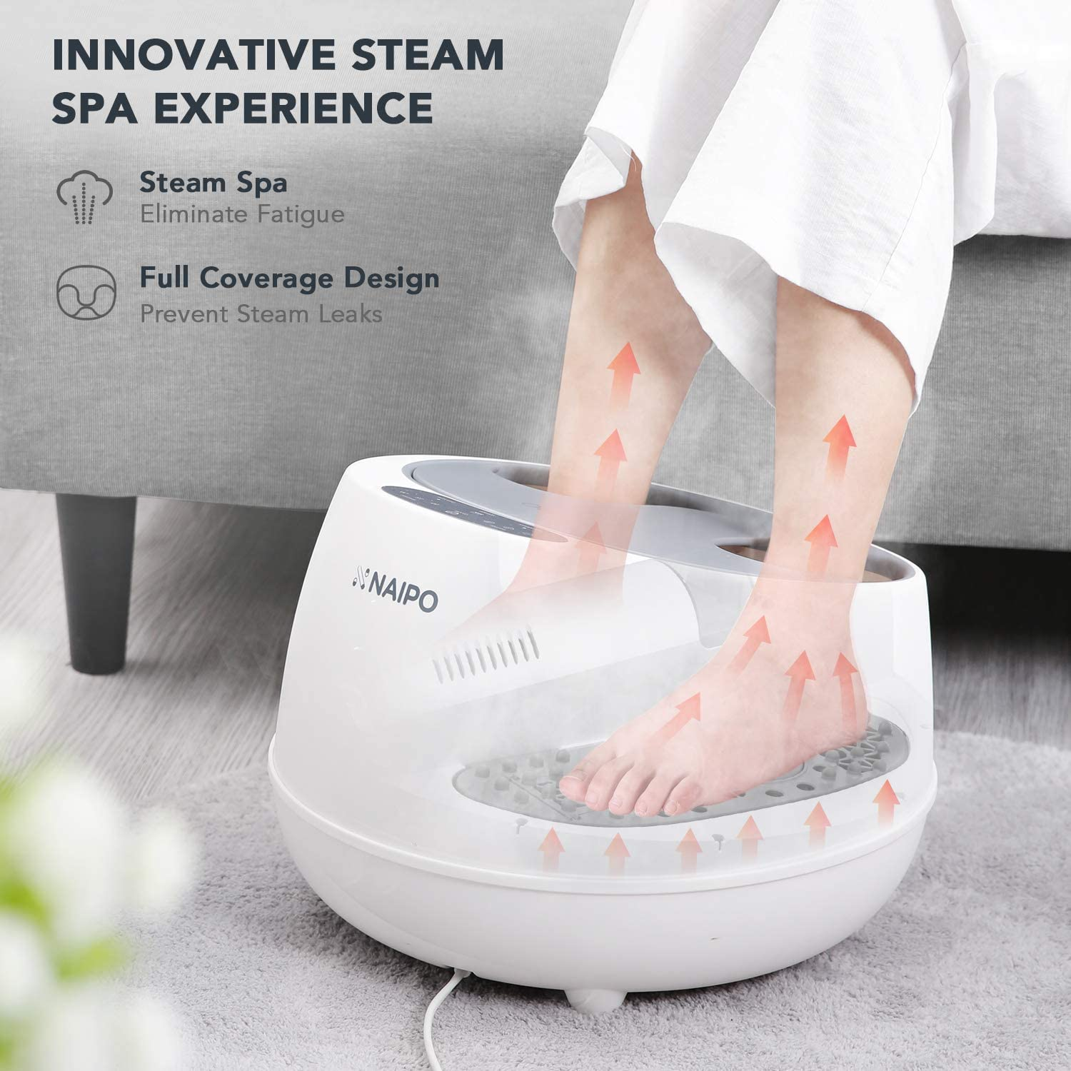 oFlexiSpa Steam Foot Spa Bath Massager with Electric Rollers, 3 Heating Levels and 2 Intensities for Feet Reflexology, 3 Adjustable Timers, Soothe Tired Feet, Water Saving Technology for Home Use: Health & Personal Care