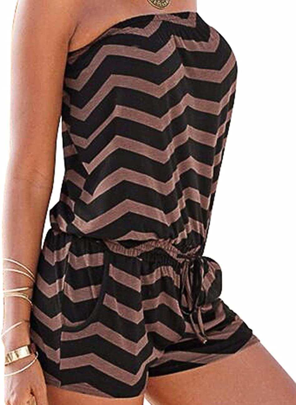 Sexyshine Womens Strapless Off Shoulder Printed Beachwear Short Rompers Jumpsuits