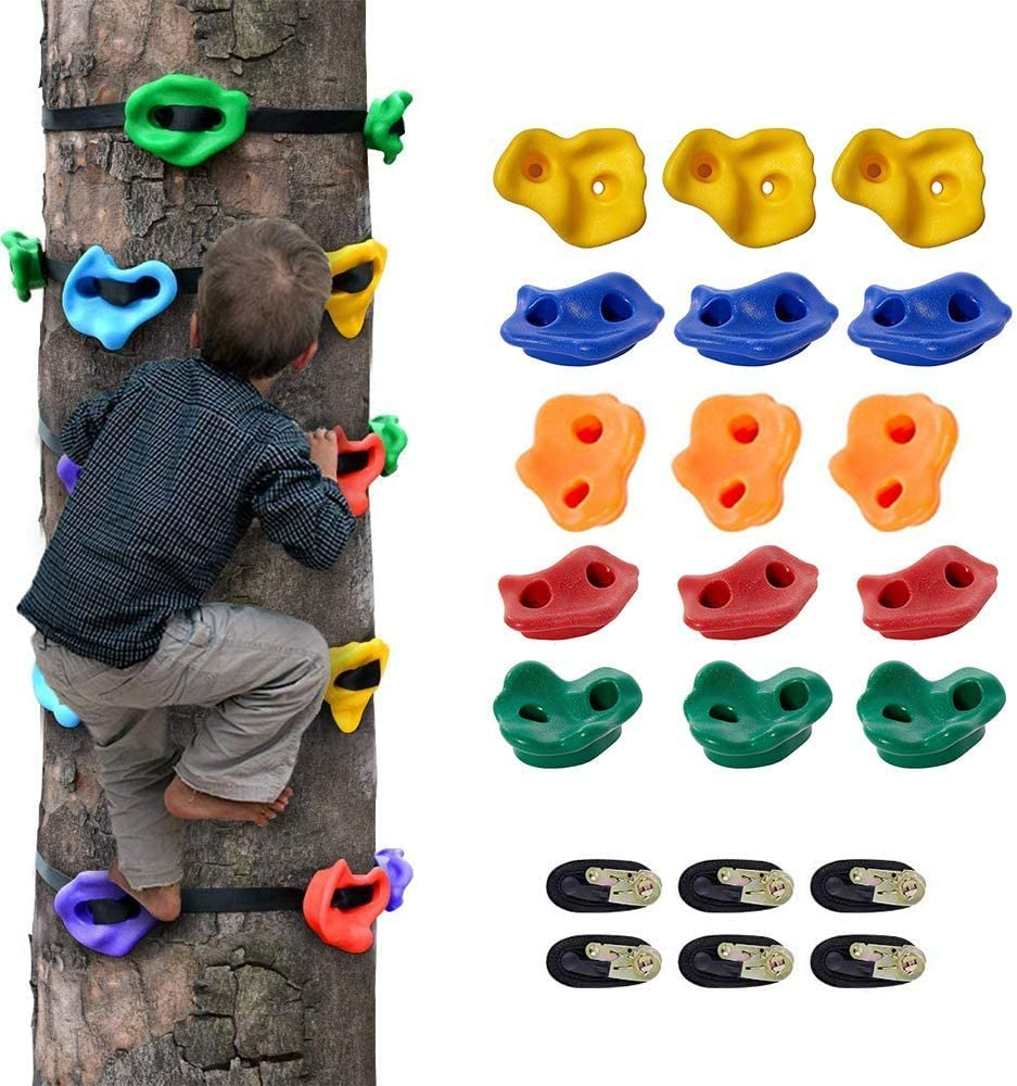 PAKASEPT 15+6 Climbing Holds Kids, 15 Climbing Grips for Tree and 6 Ratchet Straps for Climbing Frame, Kids Climbing Rock Stones, Ideal for Outdoor Ninja Warrior Obstacle Course Training