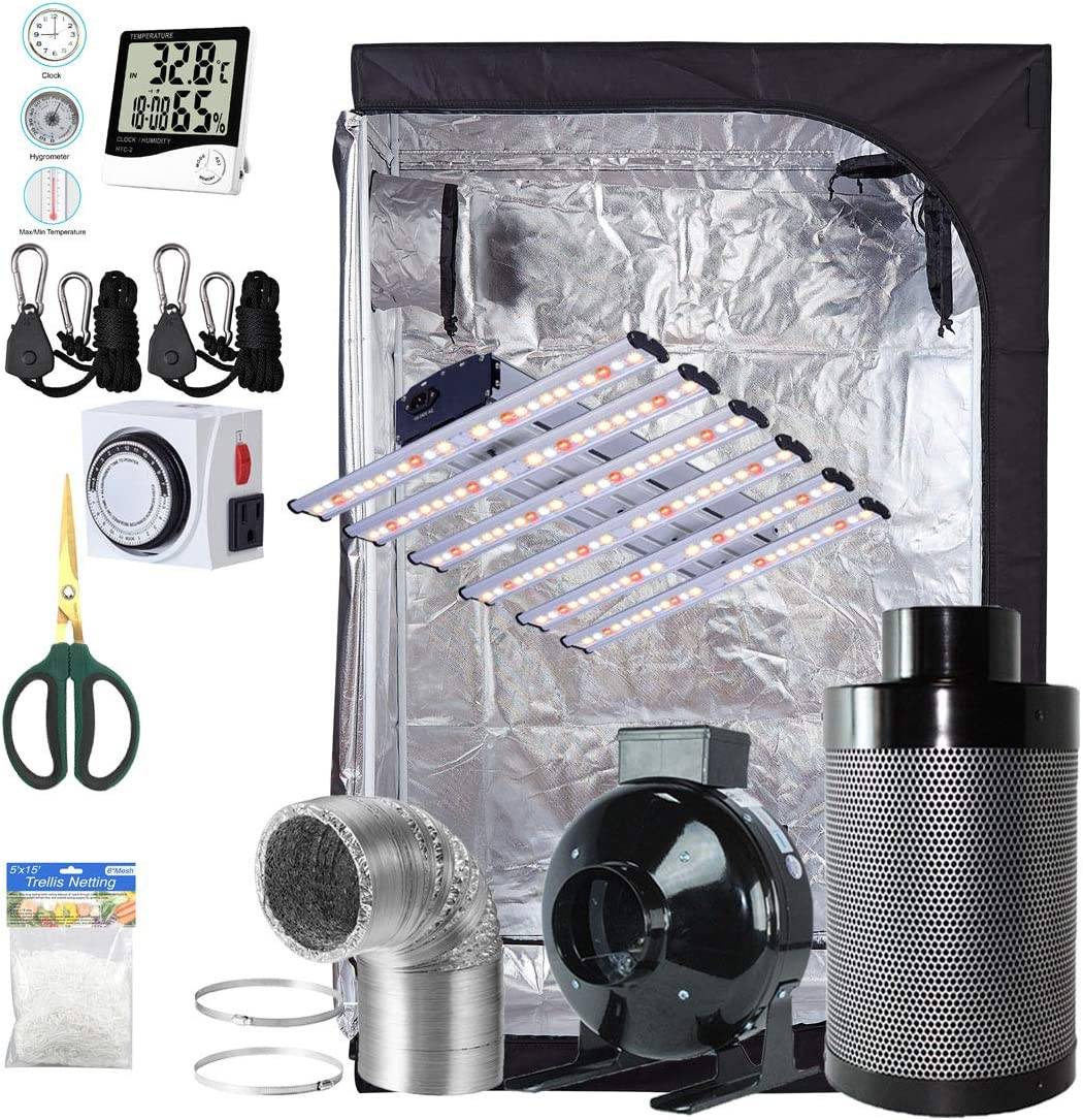 TopoGrow Grow Tent Kit Complete LED 900W UFO Grow Light, 60 X60 X80 Grow Tent and 6 Fan Filter Ventilation Kit and Hydroponics Indoor Plants Accessories Growing System