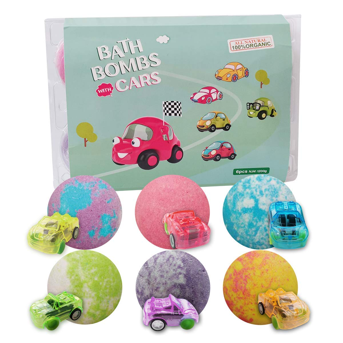 CF Natural Daily Cars Bath Bomb Gift Set with Pull-Back Cars Inside