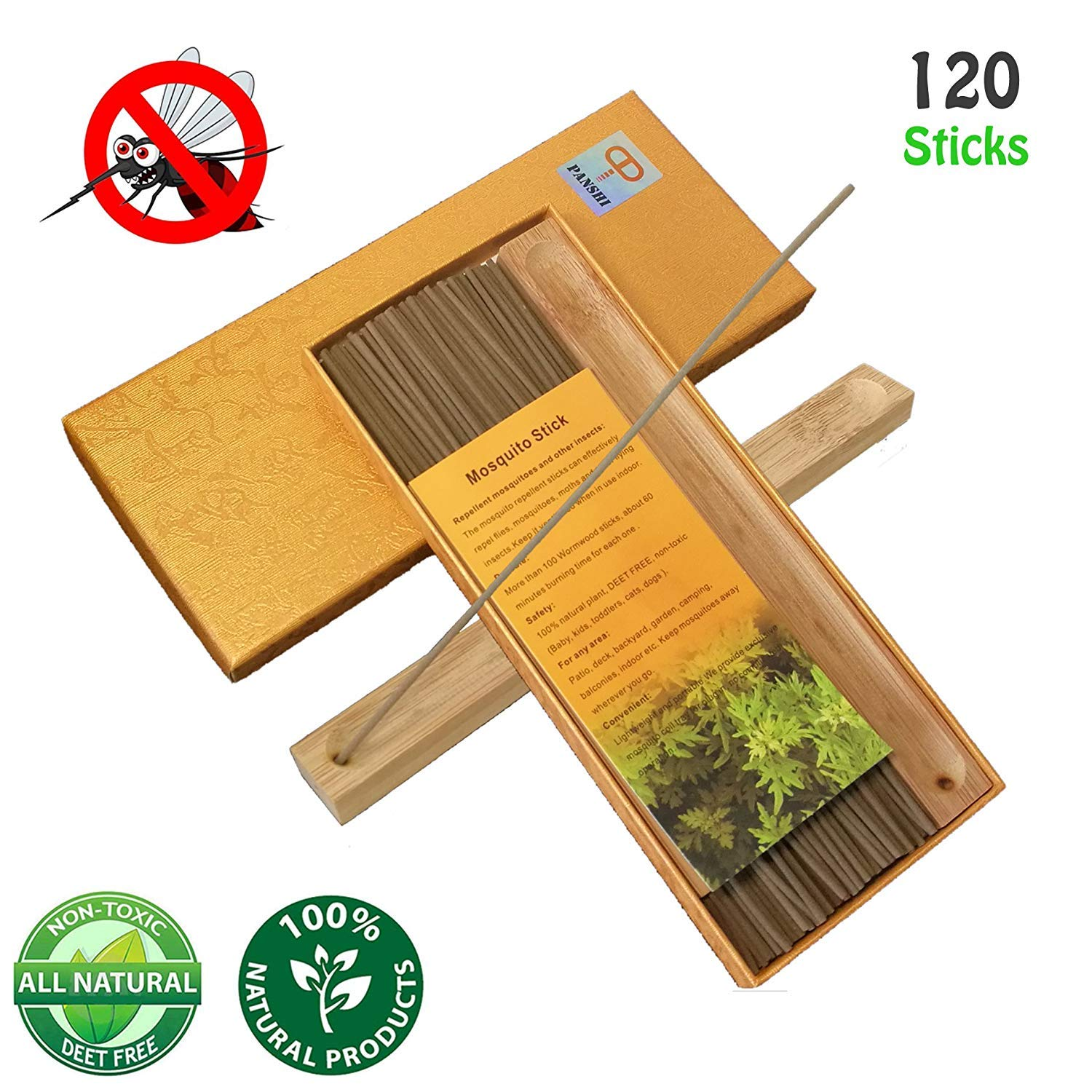 Amazon.com : Panshi Premium Mosquito Repellent Sticks With Exclusive  Holder, 100% Natural Citronella And Aromatic, DEET Free, Non Toxic, Insect  Bug Pest ...