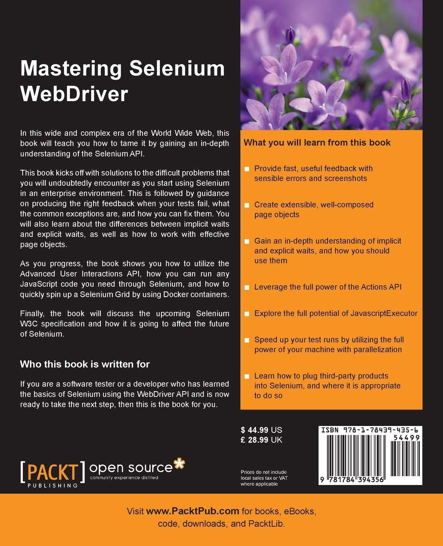 Mastering Selenium WebDriver: Mark Collin: 9781784394356