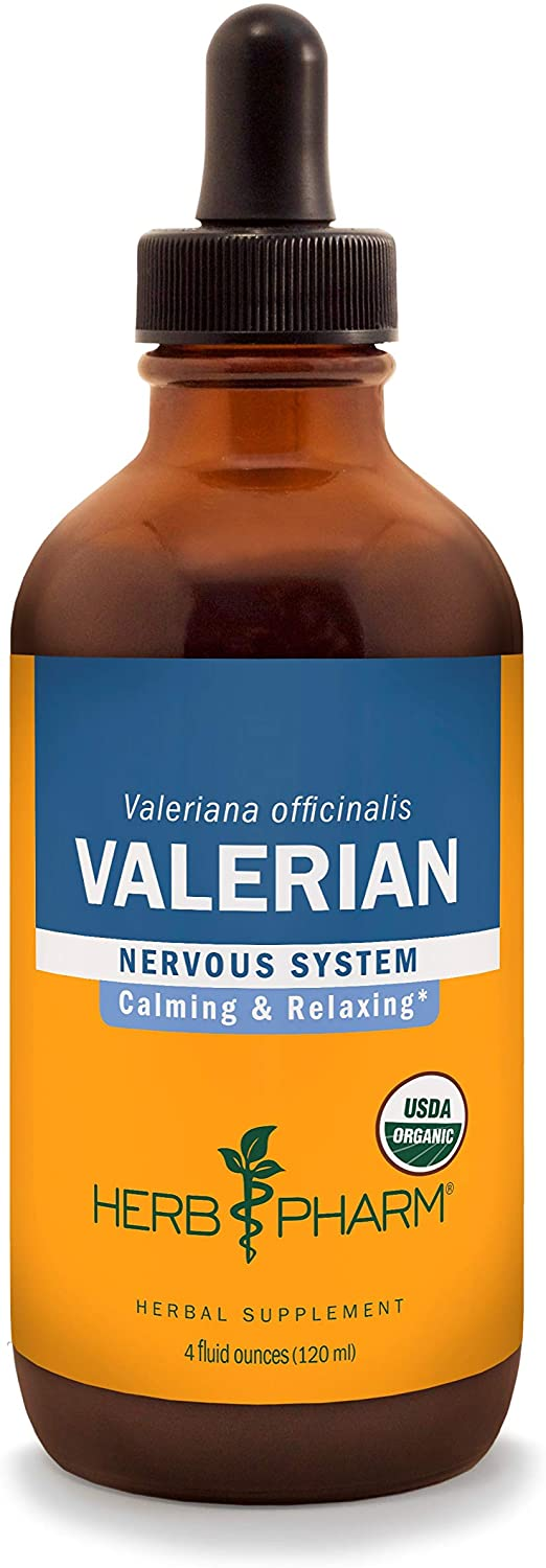 Herb Pharm Certified Organic Valerian Root Liquid Extract for Relaxation and Restful Sleep, Organic Cane Alcohol, 4 Ounce