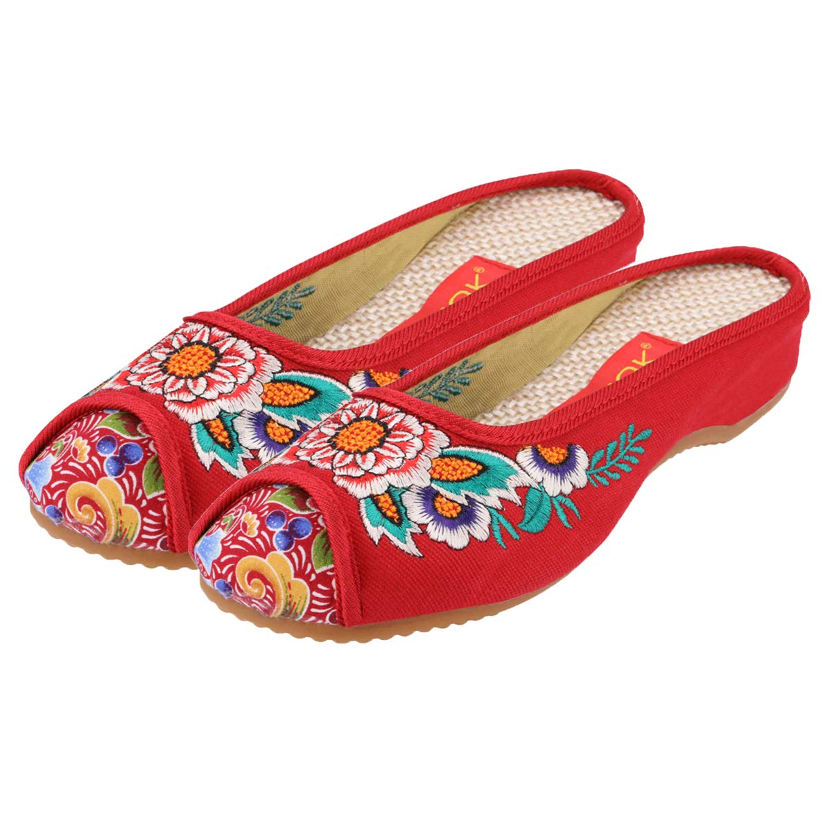 9a624f2d4 Amazon.com   CINAK Embroidered Flower Women's Shoes Backless Mules  Comfortable Home Flats Sandals Round Toe Slippers Loafers   Shoes