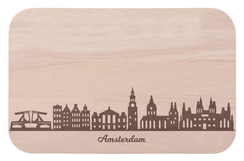 Frühstücksbrettchen Amsterdam mit Skyline Gravur - Brotzeitbrett & Geschenk für Amsterdam Stadtverliebte & Fans - ideal auch als Souvenir