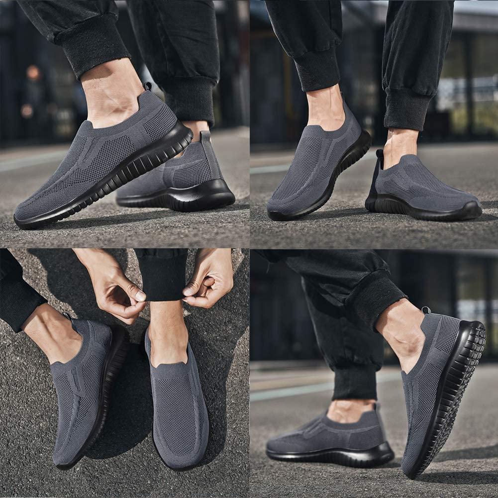 Comfortable Breathable Casual Mesh Work Shoes poemlady Mens Slip on Walking Sneakers