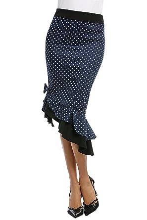 DonKap Falda de Corte Medio para Mujer, de Cintura Alta, diseño de ...