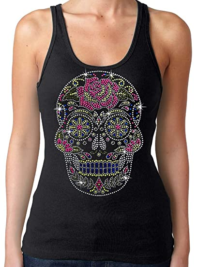 New Rhinestone Sugar Skull Tank Top Black S 3xl Juniors At Amazon