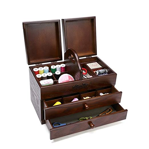 SUWIN Color Antiguo portátil Caja de Costura Grande de Madera de 3 Capas Tipo cajón para el hogar, Caja de Almacenamiento para Dormitorio, Caja de ...