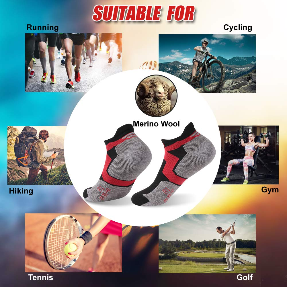 Wool Cycling Socks, ZEALWOOD Anti Blister No Show Running Socks Women and Men Golf Socks,Trail Walking Socks, Merino Wool Antibacterial Wicking Light Athletic Socks,3 Pairs,Black Red Grey by ZEALWOOD (Image #6)