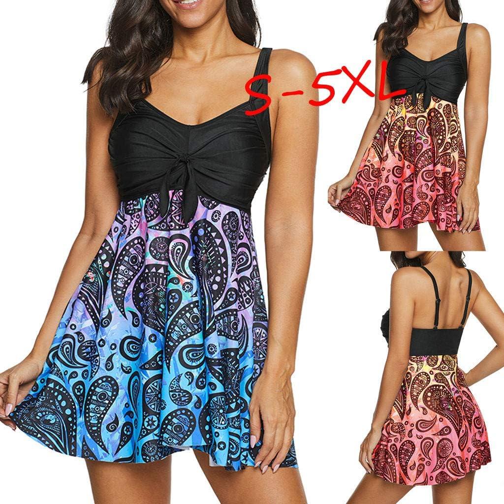 Two Piece Bathing Suit Women Casual Plus Size Vintage Print Tummy Control Tankini Swimsuit Beachwear Swimwear