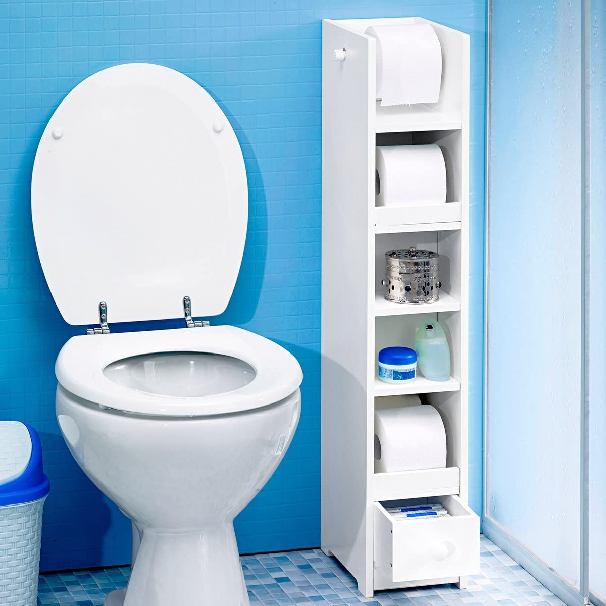 16,5 x 25 x 91 cm WC-Papier Regal Ablage Badregal f/ür Toilettenpapier Badezimmer Toilette wei/ß genialo WC-Papier-Regal MDF
