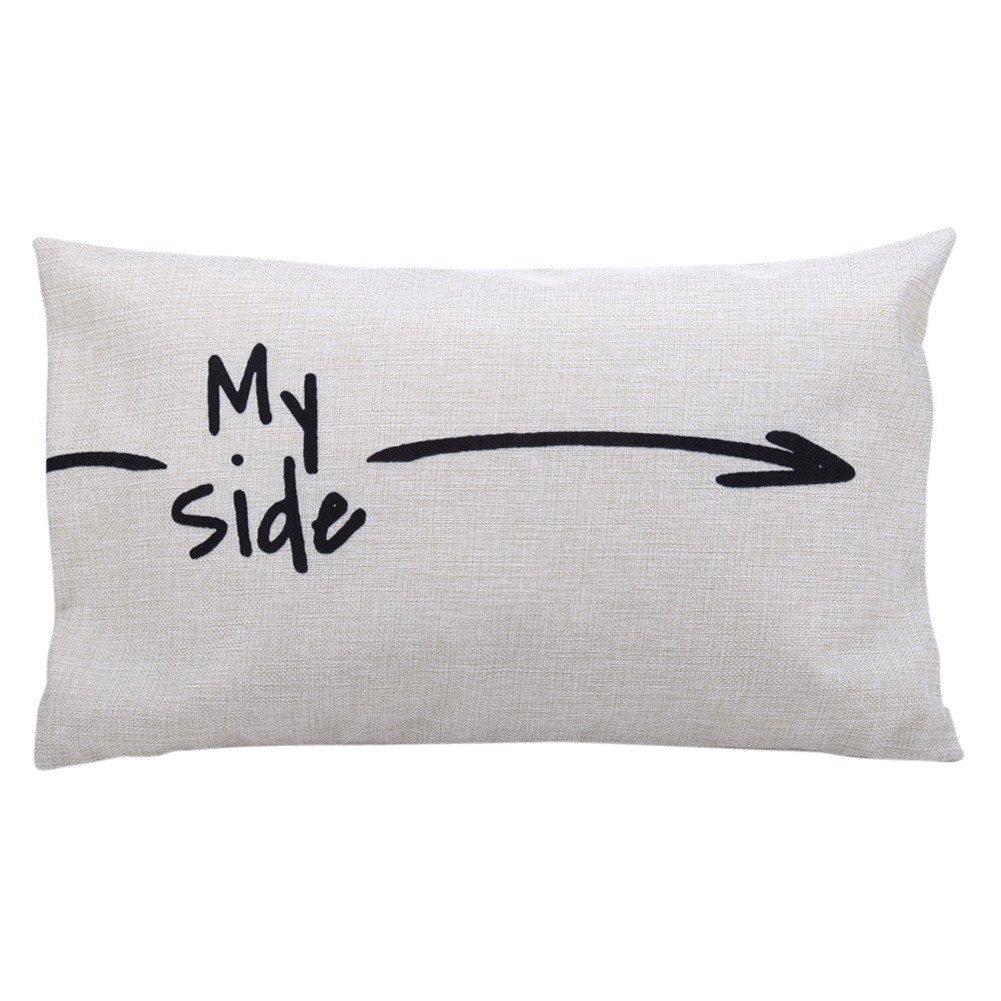 Globeagle Creative Letras patrón grueso algodón fundas de almohada 30x50 cintura fundas de almohada