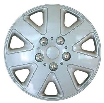 Tapacubos deportivo Madrid de XtremeAuto®, para llantas de 14 pulgadas, de 7 aspas, plateado, incluye tapas de válvula cromadas y bridas plateadas: ...