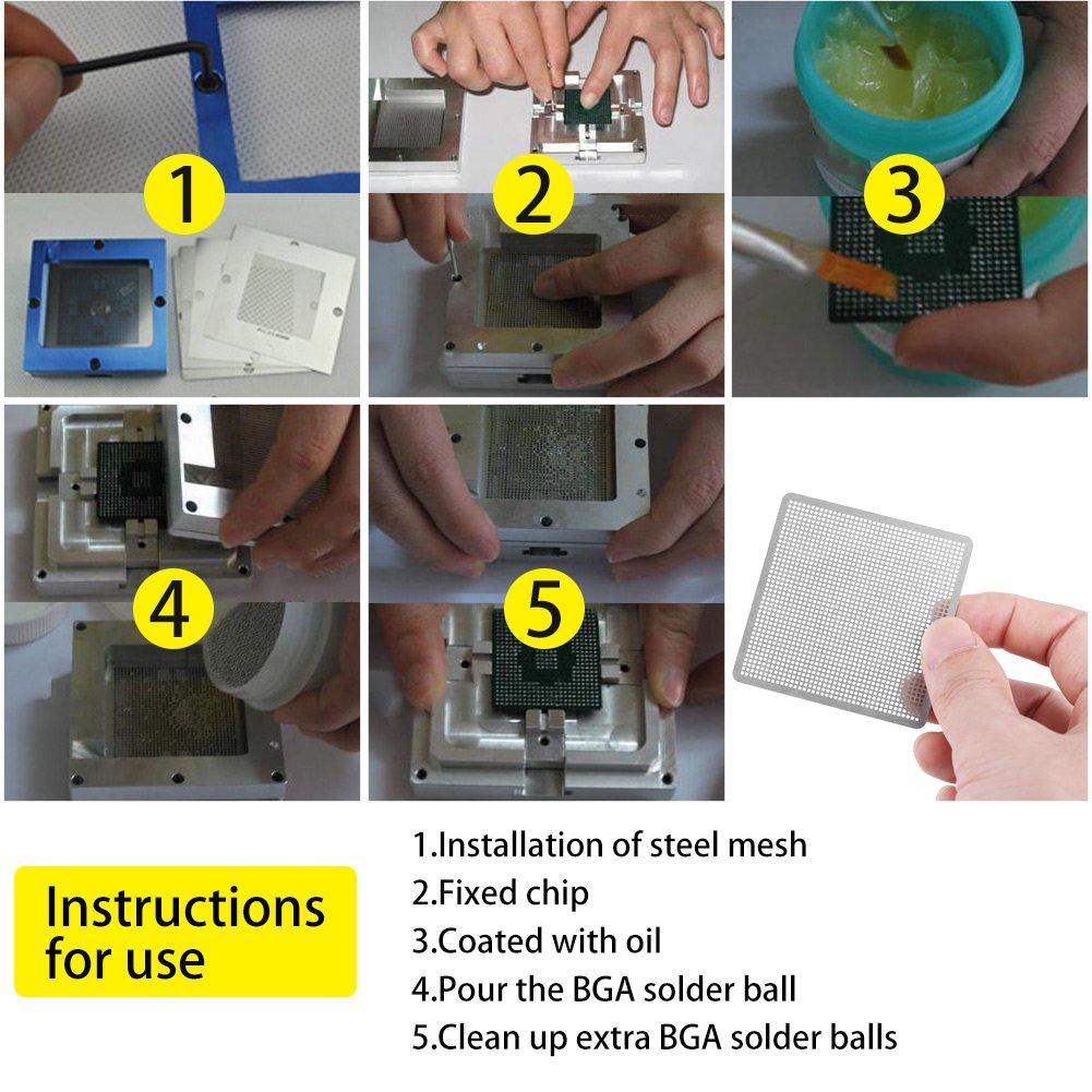 27pcs BGA Reball Reballing Rework Net Stencil Heat Universal Supply Solder Set