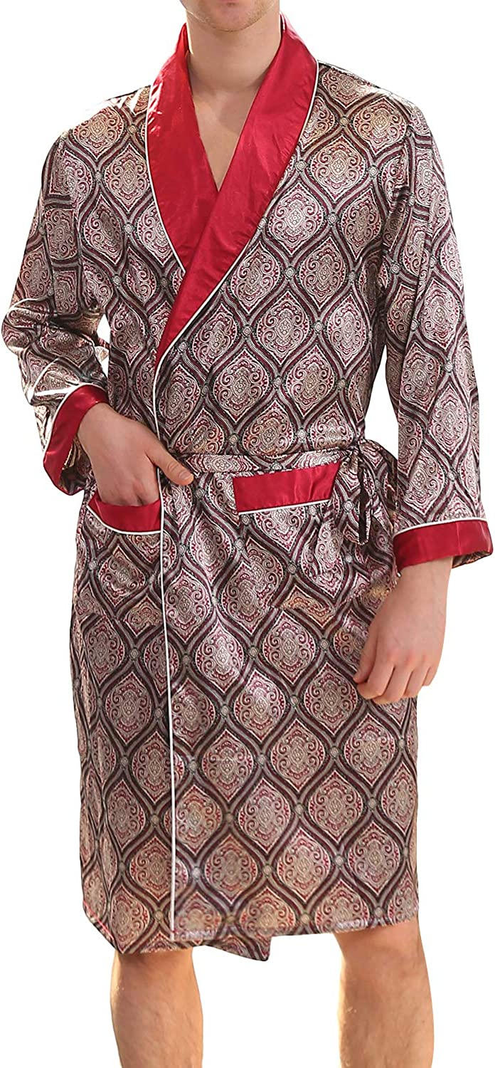 Haseil Men's Luxurious Kimono Robe with Shorts Summer Printed Silk Satin Bathrobes