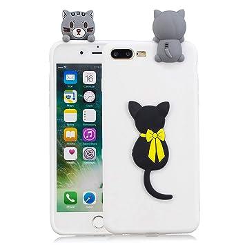 Funluna Funda iPhone 8/7 Plus, 3D Gato Negro Patrón Cover Ultra Delgado TPU Suave Carcasa Silicona Gel Anti-Rasguño Protectora Espalda Caso Bumper ...