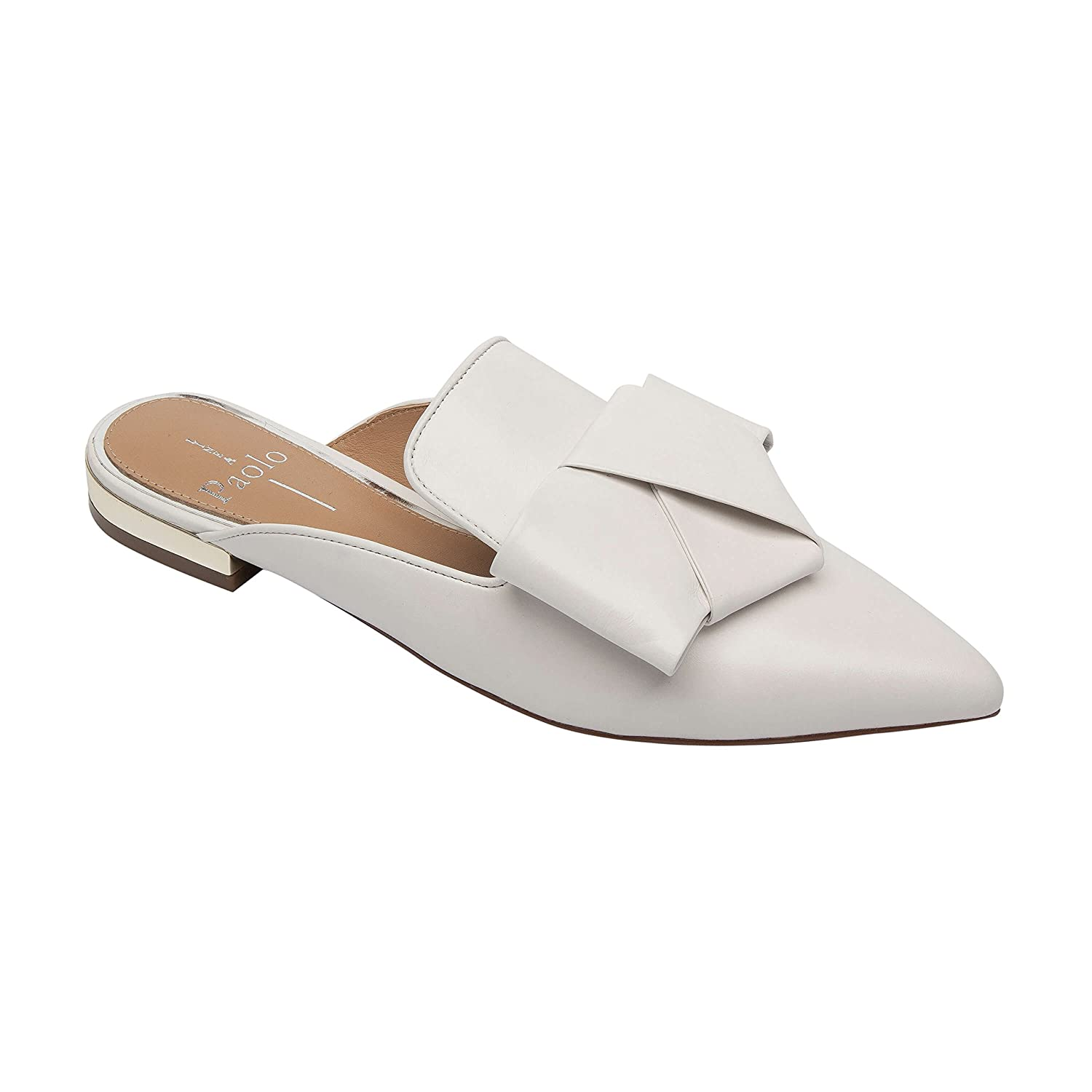 ANYA | Pointy Toe Origami Bow Slip-On Mule Flat Leather or Suede B07BC66BZX 10 M US|Ivory Leather