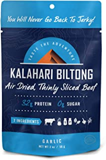 product image for Garlic Kalahari Biltong, Air-Dried Thinly Sliced Beef, 2oz (Pack of 8), Sugar Free, Gluten Free, Keto & Paleo, High Protein Snack