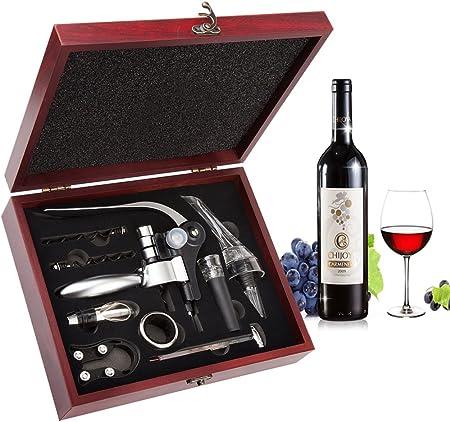 El juego incluye un abridor de vino con sacacorchos tipo palanca de conejo, cortador de aluminio, ve