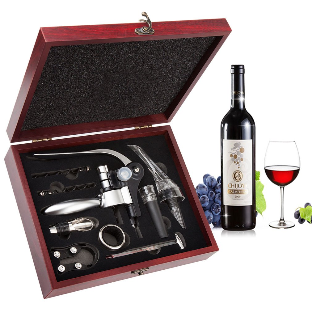 Wine Opener Set - Smaier Corkscrew,Wine Accessories Areator Wine Opener Kit with Wood Case by Smaier