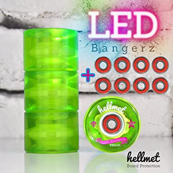 hellmet LED Bangerz 59 mm - LED Minic ruiser ruedas para el Penny tarjeta - Bombilla ruedas - Neon Verde incluye High Speed Rodamiento de Bolas: Amazon.es: ...